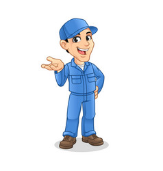 mechanic man with present something hand gesture s vector image
