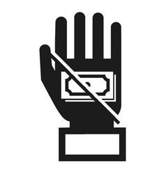 no bribery money icon simple style vector image