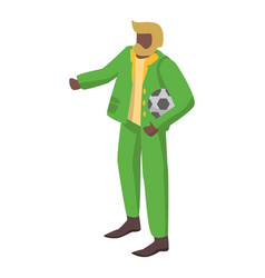 old brazil soccer supporter icon isometric style vector image