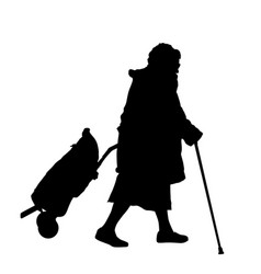 Old woman silhouette with luggage and cane vector