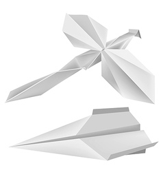 Origami dragonfly airplane vector