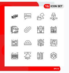 Outline pack 16 universal symbols draw art vector