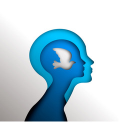 paper cutout head with dove bird for mind freedom vector image