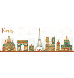 paris france skyline with color landmarks vector image