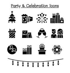 party celebration icon set vector image