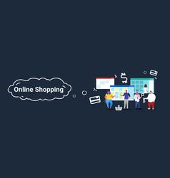 People using computer application online market vector
