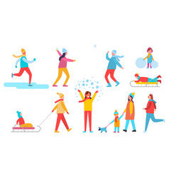 people winter actions set vector image