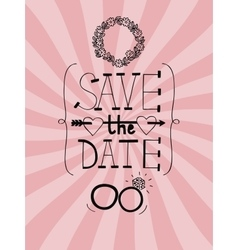 Pink wedding background with words save date vector
