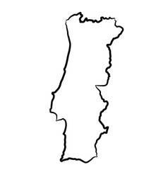Portugal map from contour black brush lines vector