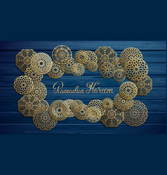 ramadan kareem gold lettering islamic round vector image