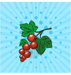 Red currant on a blue backgroundlinedots vector
