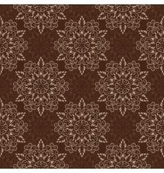 Seamless Mandala Pattern over dark brown vector