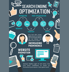 search engine optimization internet poster vector image