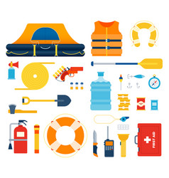 Set boat safety kit life raft float flat vector