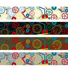 Set of color gear borders vector