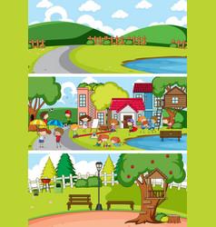 set of different horizon scenes background vector image