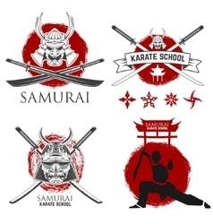 set samurai karate school labels ninja vector image