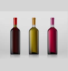 set wine bottles isolated on gray background vector image