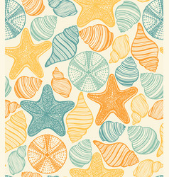 shell urchin and starfish hand drawn pattern vector image