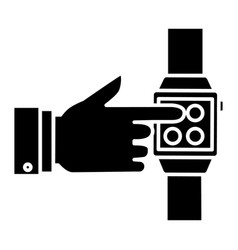 smart watch - hand touching watch icon vector image