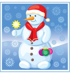 Snowman with Christmas toys vector image