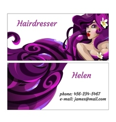 Stylish business card for hairdresser vector