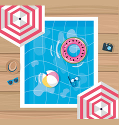 summer design with pool and umbrella vector image