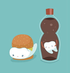 Tooth and foods tooth and teeth of dental concep vector