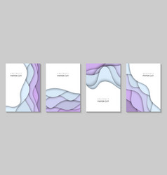 Vertical flyers with colorful paper cut waves vector