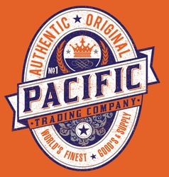 Vintage americana style pacific label vector