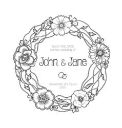 Vintage floral wreath Wedding invitation vector image