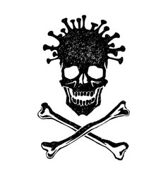 virus pandemic skull and crossed bones vector image
