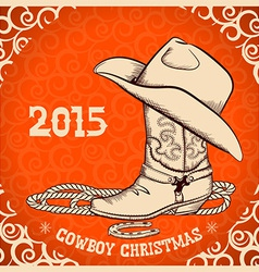 Western New Year greeting card with cowboy objects vector image
