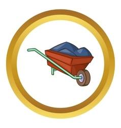 Wheelbarrow with earth icon vector