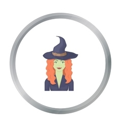 Witch icon in cartoon style isolated on white vector