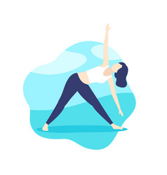 yoga girl in triangle pose in park vector image