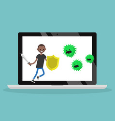 Young black man fighting against virus flat vector
