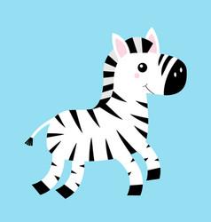 Zebra icon black striped horse jumping cute vector