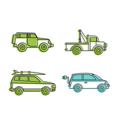 jeep icon set color outline style vector image vector image