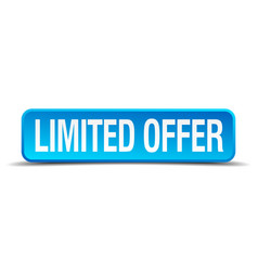 limited offer blue 3d realistic square isolated vector image vector image