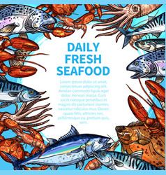 Menu for seafood or fish food market vector