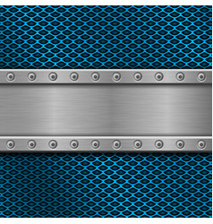 metal rivetted plate on blue perforated background vector image vector image