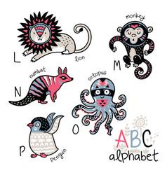 animals alphabet l - p for children vector image vector image