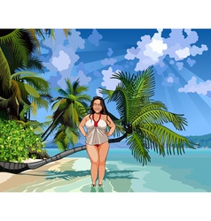 cartoon fat girl on a beautiful tropical shore vector image