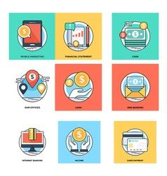 Flat color line design concepts icons 16 vector