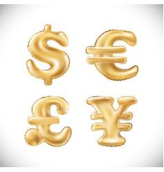 gold dollar euro yen pound sterling symbol vector image vector image