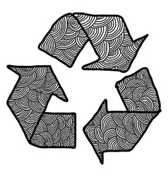 Hand drawn doodles recycle sign vector