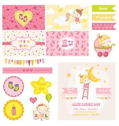 Scrapbook Design Elements - Baby Girl Shower Theme vector image vector image