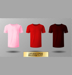 shirt mock up set t-shirt template pink red and vector image vector image