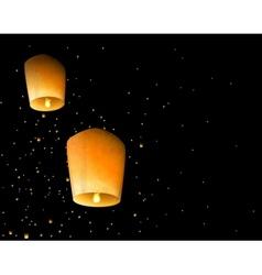 Sky lanterns vector image vector image